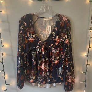 South moon under floral long sleeve blouse